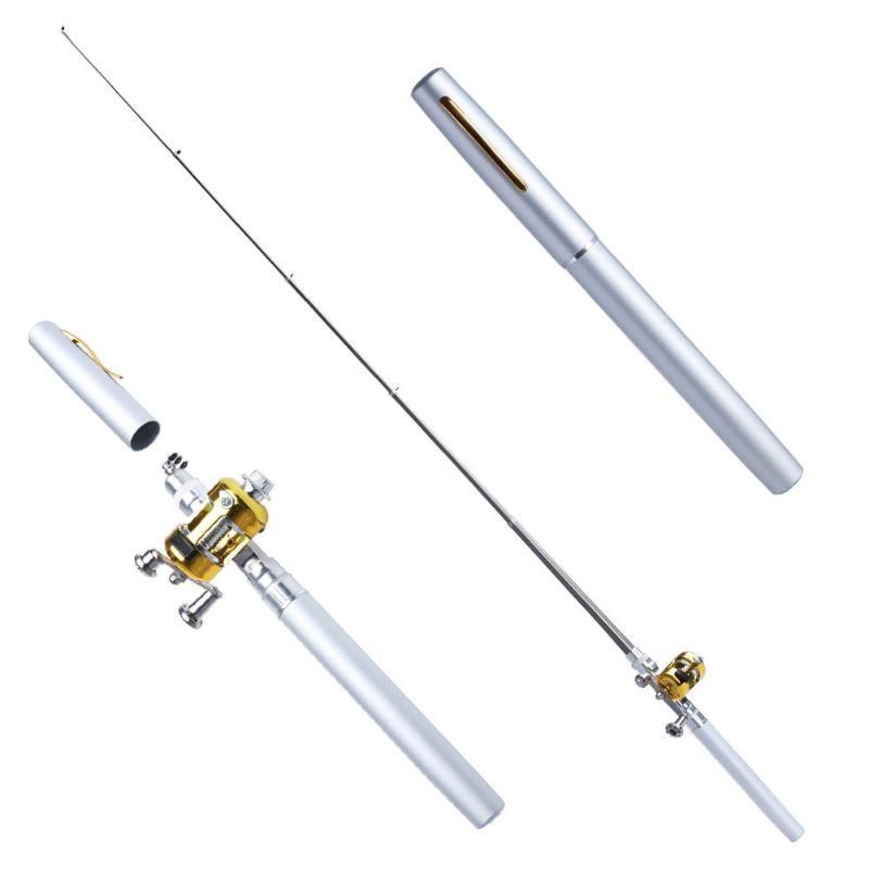 Mini Tragbare Taschenfischstift Leichte Faserglas Angelrute Pole Rolle Combos Fits Handschuhkasten Aktenkoffer Rucksack Bootstangen