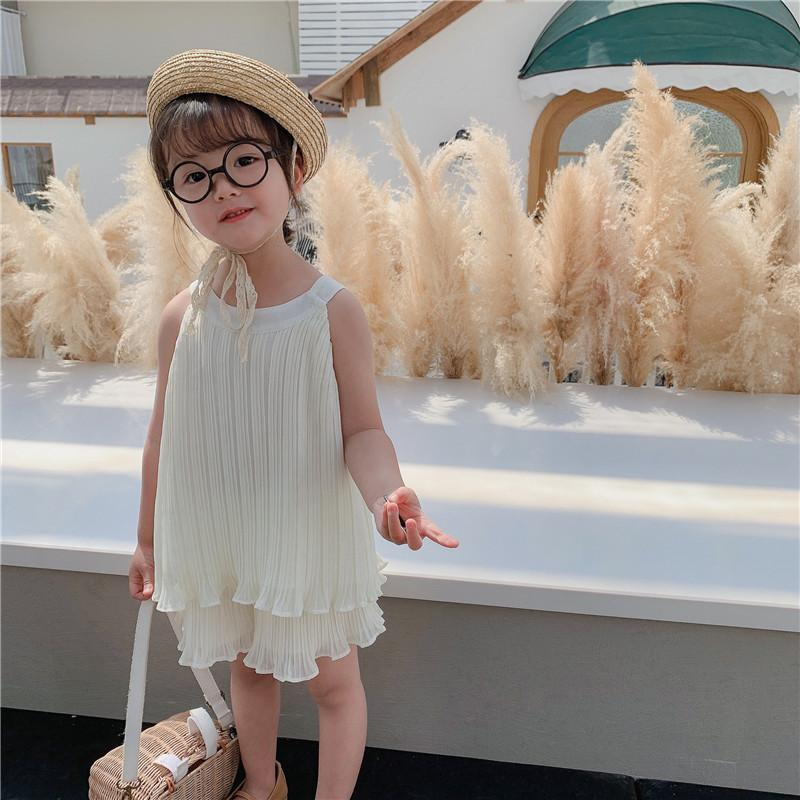 Kinderset für Mädchen Sleeveless Plus + Rock Hosen Sommer New Chiffon Strip Falten Zwei Teil Set Bequeme Mädchen Outfits X0401