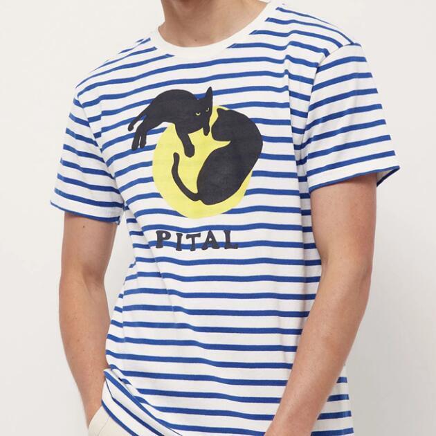Hombres mujeres 23kapital camisetas azul blanco raya luna dos gatos negros gatos sonrientes cara impresión de alta calidad temperamento