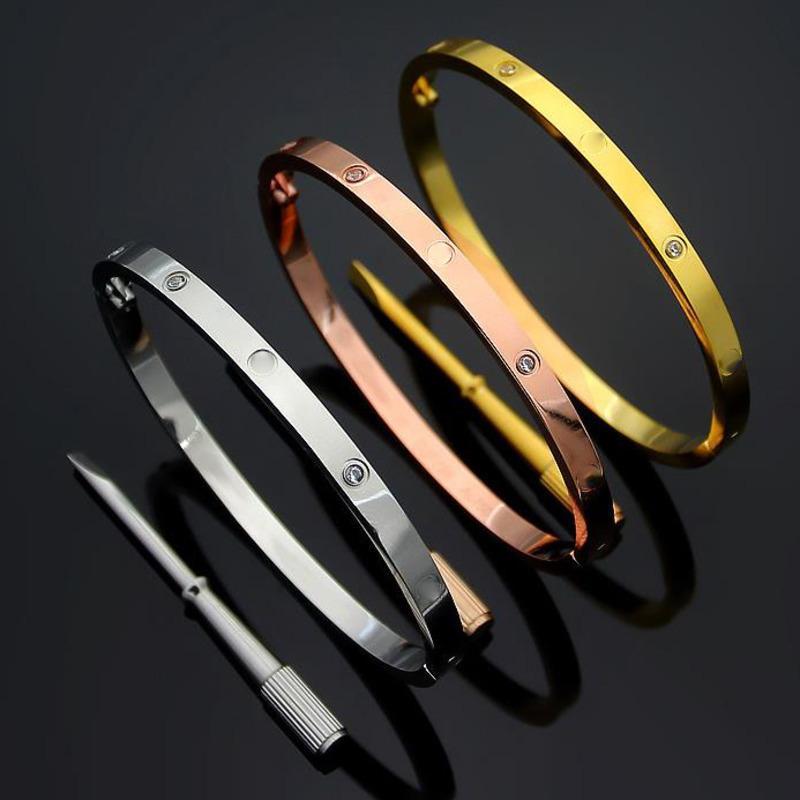 4mm pulseiras de prata fina pulseiras para mulheres homens titânio aço de chave de fenda de ouro braceletes pulseira de amantes sem caixa 16-19cm