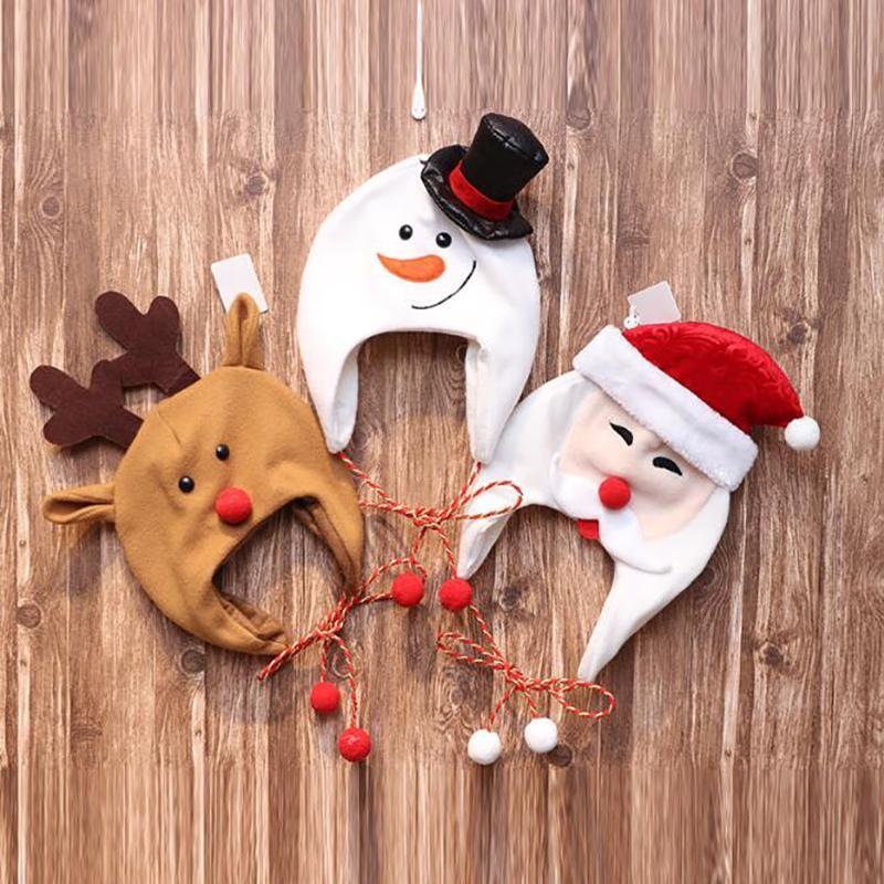 Christmas Decorations Hat Decoration Brushed Cloth Long Rope Adult Children Cartoon Snowman Elk