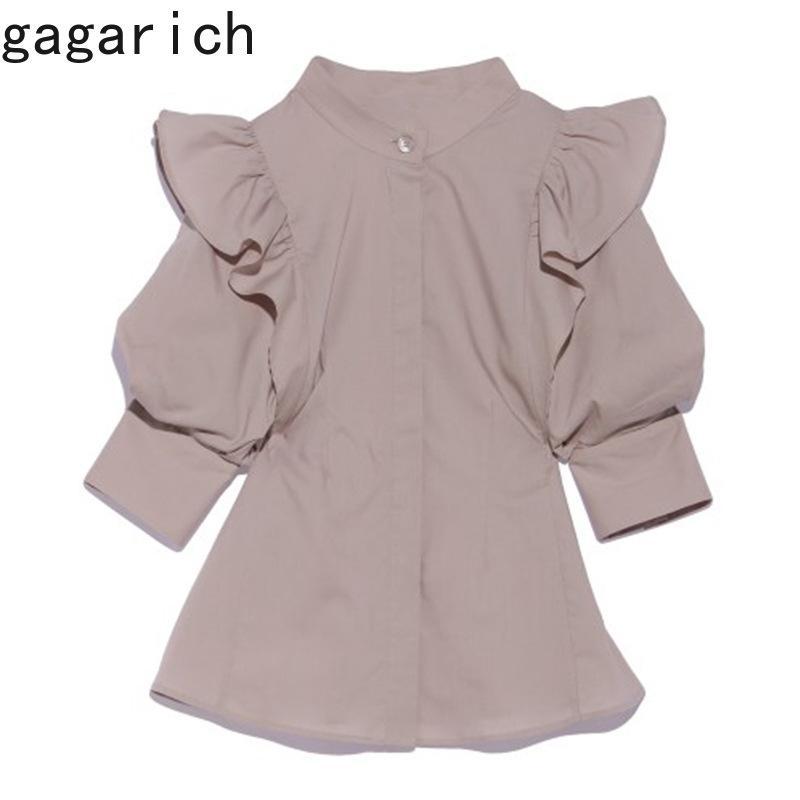 Chic blusa mulher primavera sólido palácio estilo sólido elegante elegante colarinho bag turbar manga feminina camisa fêmea 210506