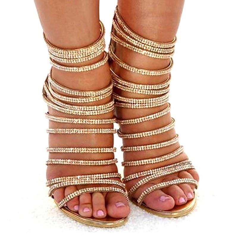 Moda mulheres sapatos sexy saltos altos fina sandálias de salto de ouro ouro aberto festa bandagem de casamento bombas de verão plus tamanho 42