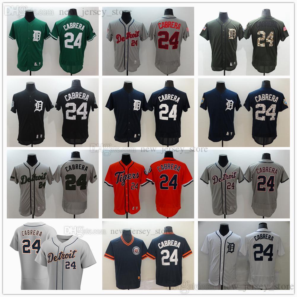 2021 Béisbol 24 Miguel Cabrera Jerseys cosido Hombre Mujeres Niños Negro Negro Blanco Gris Gris Naranja Azul Verde Verde Jersey