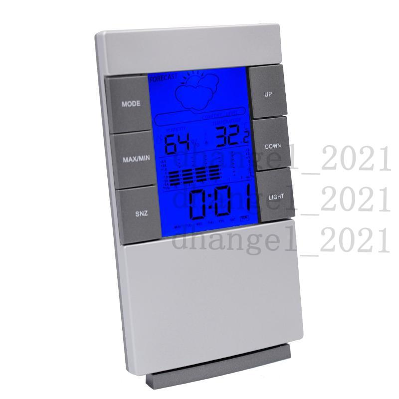 New arrival Digital wireless LCD Thermometer Hygrometer Electronic Indoor Temperature Humidity Meter Clock Weather Station LZ0691