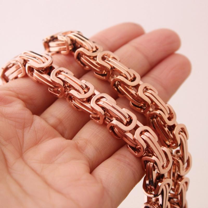 """4/5 / 8mm Modeschmuck Rose Gold 316L Edelstahl Byzantinische Box Kette Männer Frauen Halskette oder Armband Armreif 7-40 """"Geschenkketten"""