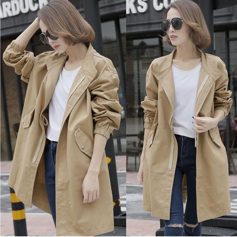 여성을위한 트렌치 2020 봄 가을 캐주얼 솔리드 지퍼 슬리브 윈드 브레이커 긴 느슨한 코트 여성 얇은 겉옷