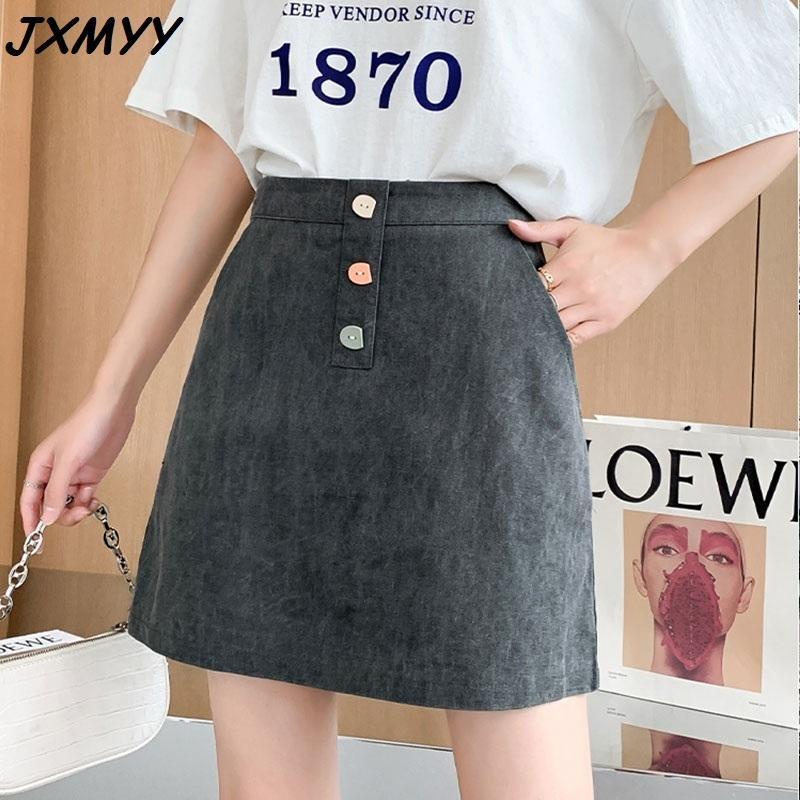 Mode d'été Nouveaux boutons de couleurs Anti-Longueur haute taille haute taille mince a-ligne couleur pure jupe courte JXMYY 210412