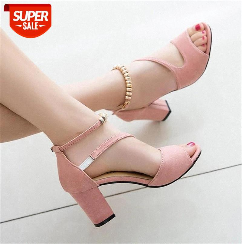 2020 spring Sexy fish mouth hollow Roman sandals thick with a word beaded high heels female summer x25 #0F3m