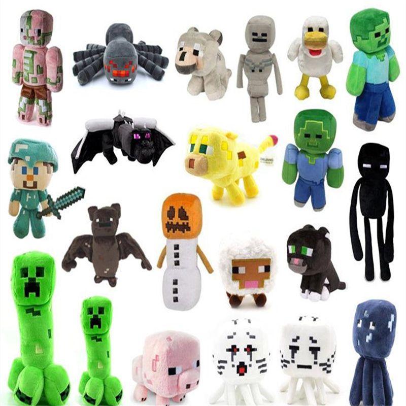 38 Stili Minecraft Peluche Giocattoli Skeleton Man Doll Pig Tiger Cat Zombie Squid Game Dolls