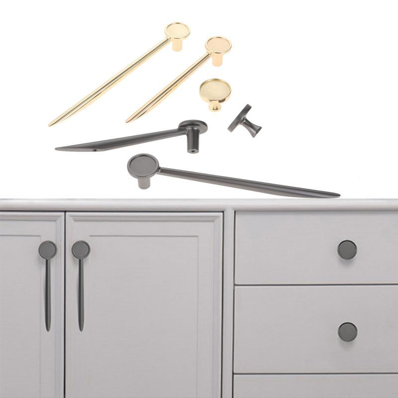Handles & Pulls 1 Pc Zinc Alloy Single Hole Knobs Gold/grey Cabinet Brooch Design Handle Hardware For Kitchen Furniture Drawer