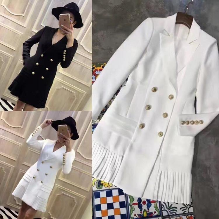 Style Top Quality Original Design Women's Classic Dress Metal Buckles Double-breasted Long Sleeve Pleated