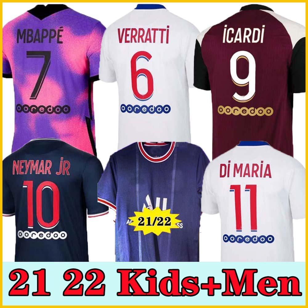 PSG.Jersey 20 21 21 21 Jersey de futebol Mbappe Verratti 2021 2022 Icardi Neymar di Maria Kean Football Jersey Futebol Kimpembe Homens Camisa Kids Sets