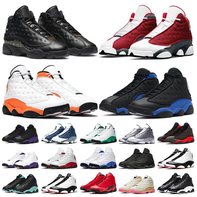 Jumpman 13 Mens 농구 신발 13s 골드 반짝이 하이퍼 로얄 레드 플린트 불가사리 블랙 고양이 스포츠 스니커즈 크기 7-13