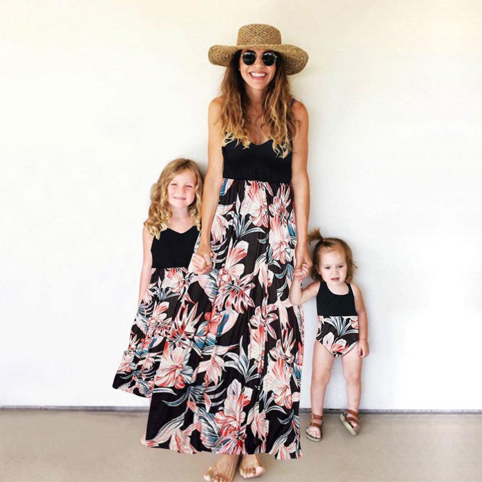 Tanque Madre hija Vestidos a juego Flores Imprimir Mamá y yo Ropa Mira mamá Mamá Baby Girls Dress Outfits Family