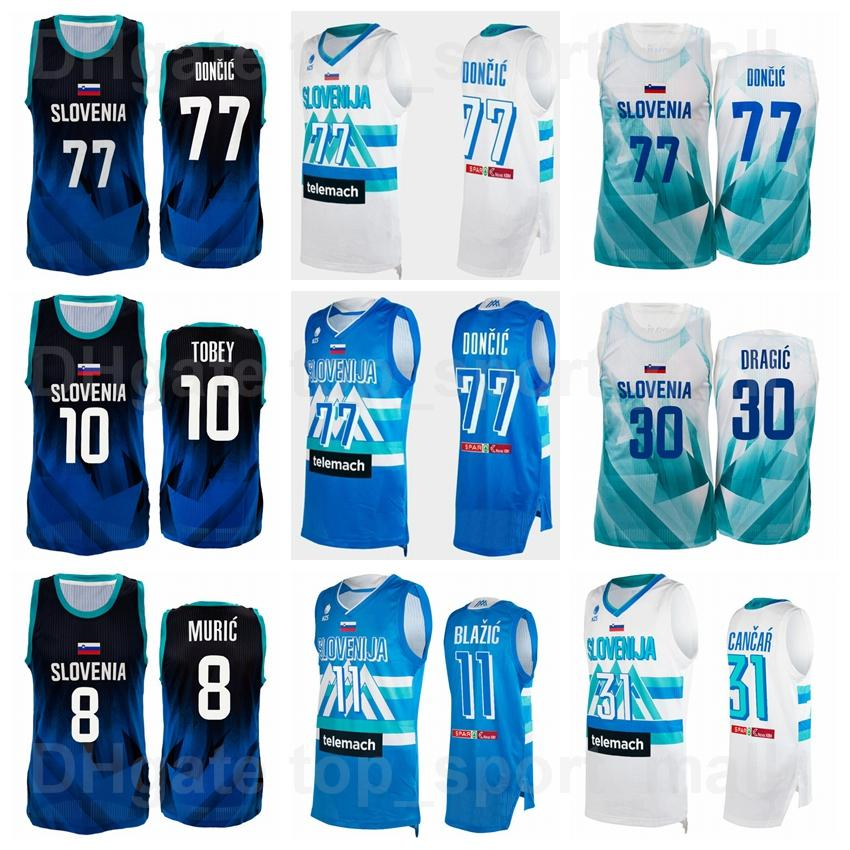 2021 Juegos Olímpicos de Tokio Eslovenia Jersey de baloncesto Luka Doncic 77 30 Goran Dragic 10 Mike Tobey 31 Vlatko Cancar 11 Jaka Blazic 8 Edo Muric 6 Aleksej Nikolic Men Mujeres Mujeres