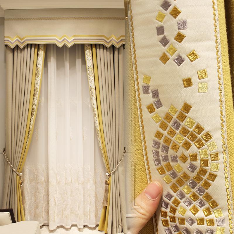 Estilo europeo Chenille Alto grado moderno moderno Simple Sala de estar Dormitorio Cortina de espesamiento Sombra Amarillo Amarillo Dapas