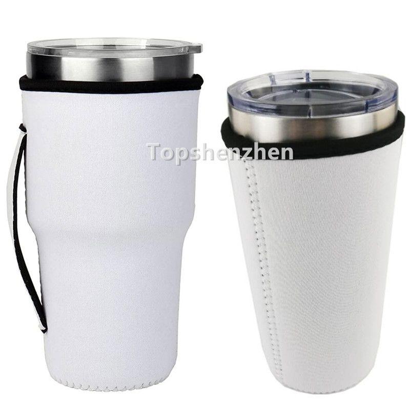 Trakebware Manija de sublimación en blanco Reutilizable 30 oz helado Café de taza de taza de neopreno Mangas aisladas Tazas Tapas de tazas Manijas del titular para 20 oz 32 oz Vacúmeros Vaso