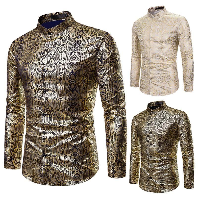 أفعواني طباعة قمصان طويلة الأكمام للرجال الفاخرة البرنزينج يتأهل camisas أوم 2021 ملهى ليلي اجتماعي عارضة قمم الرجال