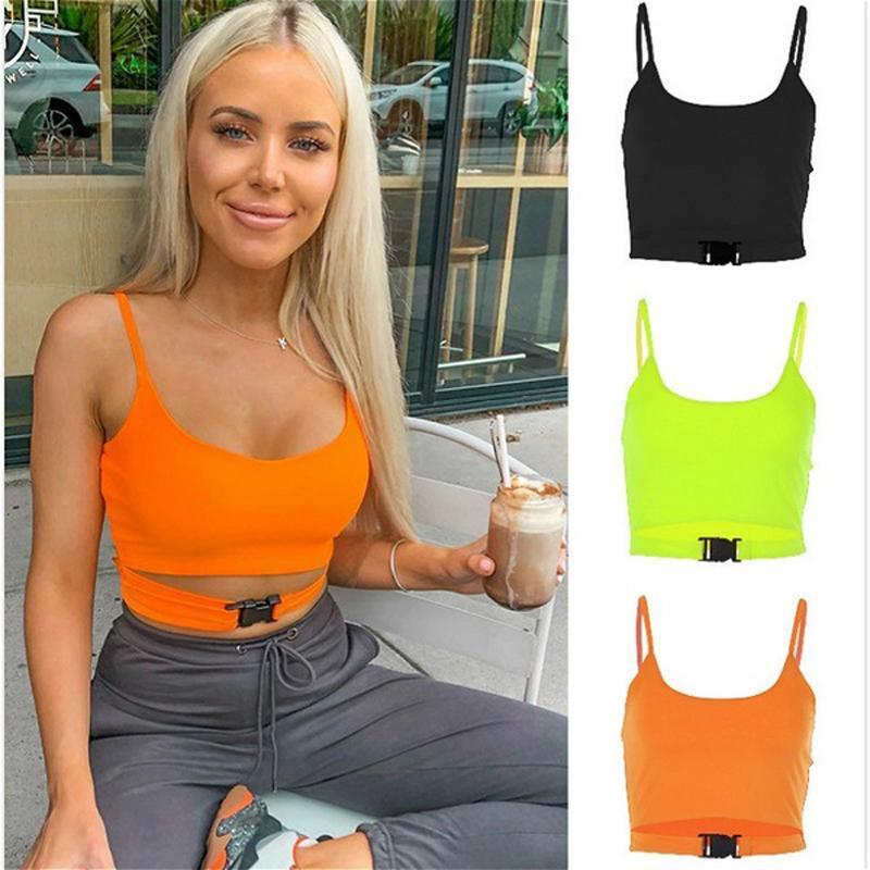 Kadın Tankları Camis 2021 Yaz Moda Kadınlar Seksi Sling Kişiselleştirilmiş Toka Sapanlar Kırpma Tops Tankı Casual Kolsuz Kısa Yelek Clubwear