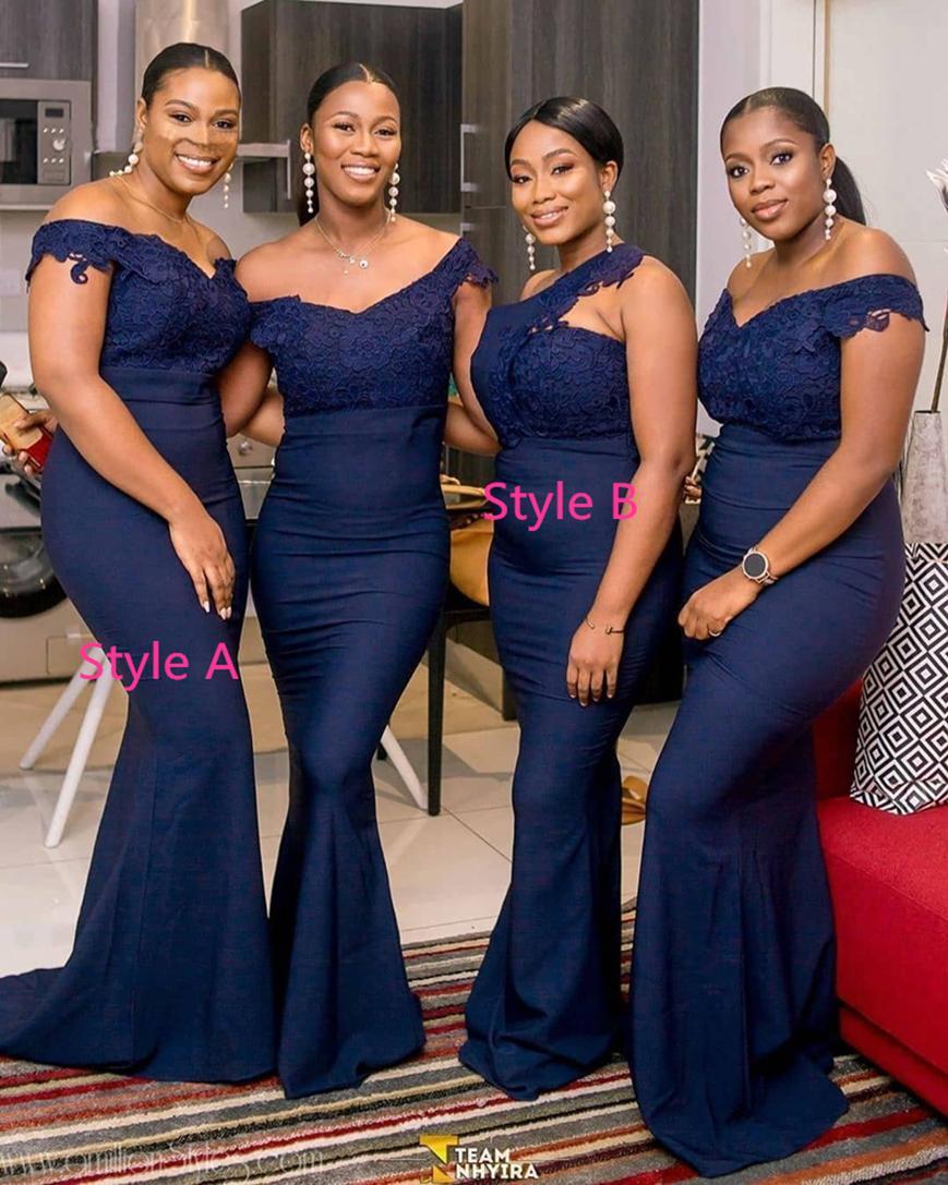 Donanma Mavi Uzun Gelinlik Modelleri 2021 V Boyun Kapalı Omuz Aplike Dantel Düğün Törenlerinde Ucuz Kadın Elbise Artı Boyutu