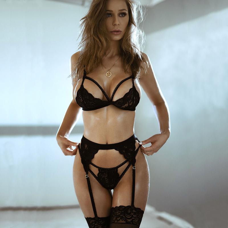 BRAS Sets CWXANS Sexy Sutiã Set Mulheres Empresa De Malha De Malha Empurre Lingerie Balette Fio Sem Emenda Thong Calcinha Underwear