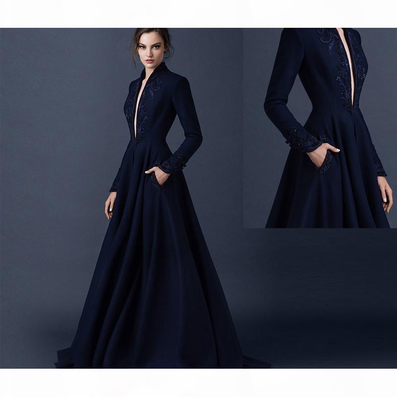 2016 neue navy blau satin abendkleider paolo sebastian kleider maßgeschneiderte perlen abendkleider eintauchen valo