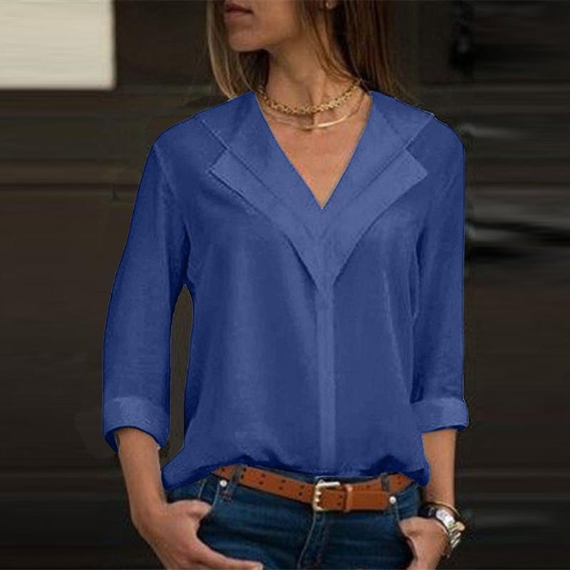 Bluse 2021 Mode Langarm Frauen Blusen und Tops Skew Kragen Solid Shirt Office Damen-Plain-Roll Tops4.22 Damenhemden