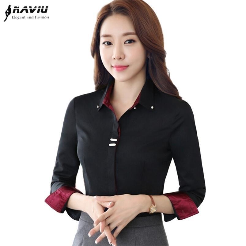 Модная одежда OL Женщины с длинным рукавом рубашка черная белая пятно пэчворки блестеть хлопчатобумажную блузку офисные дамы плюс размер формальных топов 210415