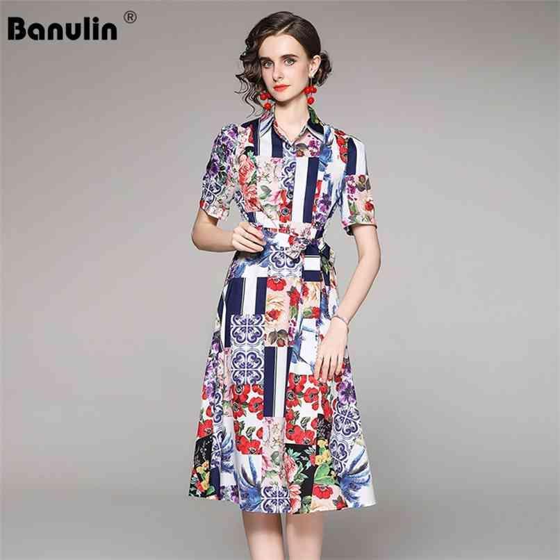 Runway Moda Verão Midi Dress Mulheres Alta Qualidade Manga Curta Floral Cópia Corte Cinto Casual Camisa Elegante 210521