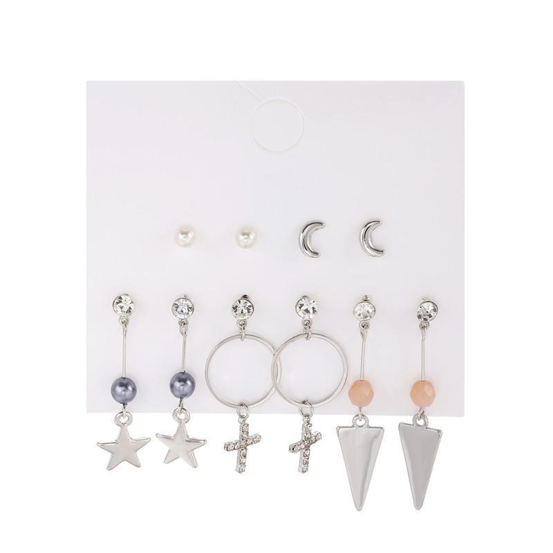 Stud 5pcs / set Bohemian Cool Ear Cadena Geométrico Cristal Cross Star Triangle Pendiente Luna Perla Perlas Joyería Moda