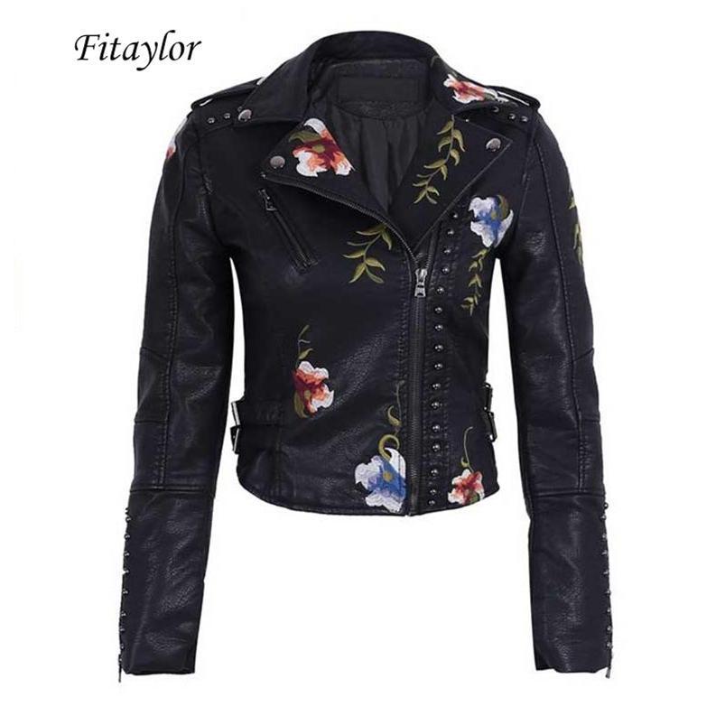 Kadın Faux Deri Ceket Çiçek Baskı Nakış PU Motosiklet Ceket Turn-down Yaka Kısa Siyah Punk Biker Giyim 210421
