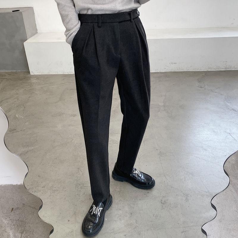 남성용 따뜻한 모직 바지화물 캐주얼 패션 블랙 컬러 슈트 비즈니스 슬림 피트 서양식 바지