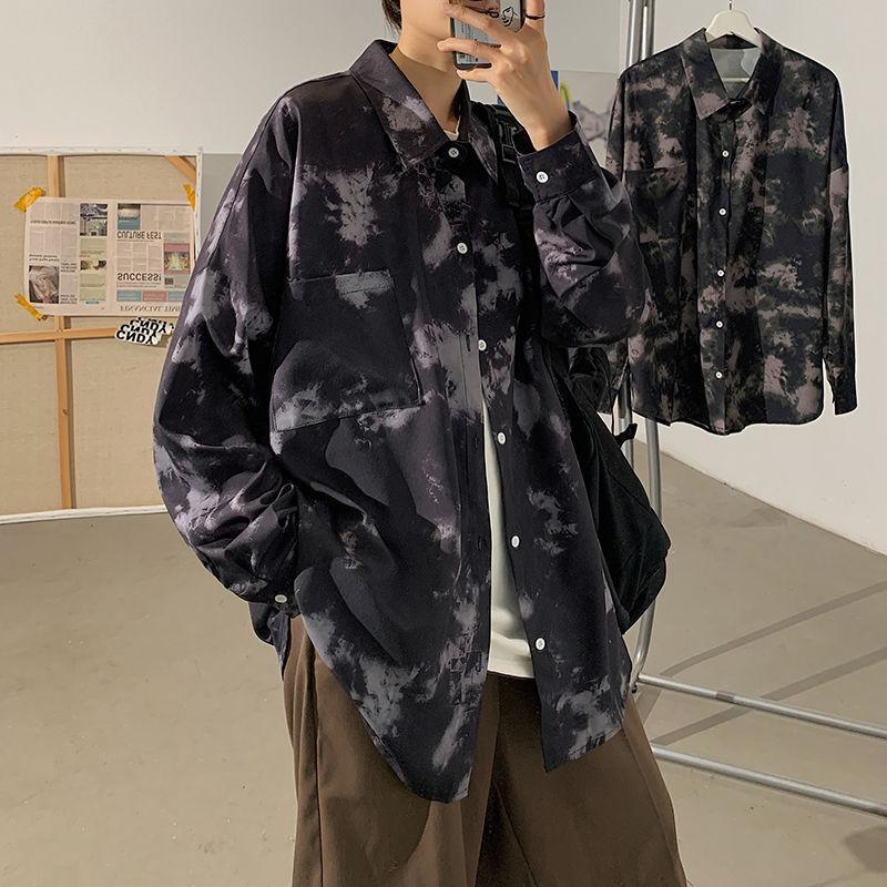 봄 넥타이 염료 셔츠 남성 패션 레트로 캐주얼 남성 스트리트웨어 한국어 느슨한 긴팔 망 Camo M-5XL 셔츠