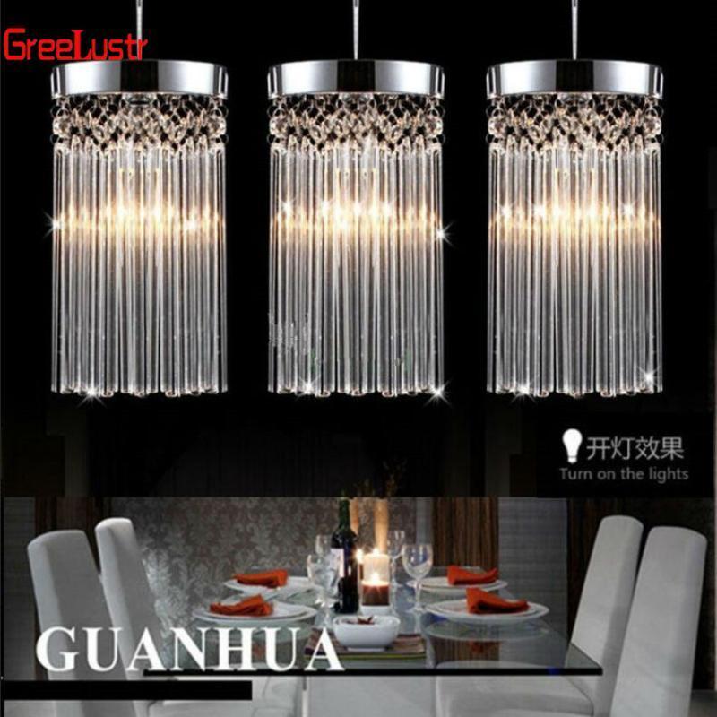 현대 패션 간단한 광택 샹들리에 LED K9 크리스탈 펜던트 램프 레스토랑 조명 발코니 통로 110V-260V 전압 조명 천장