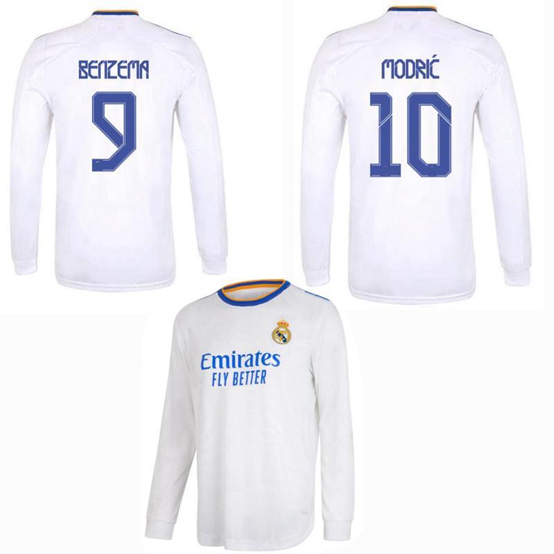2021 2022 Real Madrid manica lunga maglie da calcio ALABA R.VARANE RODRYGO CRACTOIS ASENSIO MARCELO Modric Vini JR. Pericolo Benzema 21 22 Camicia piena di calcio
