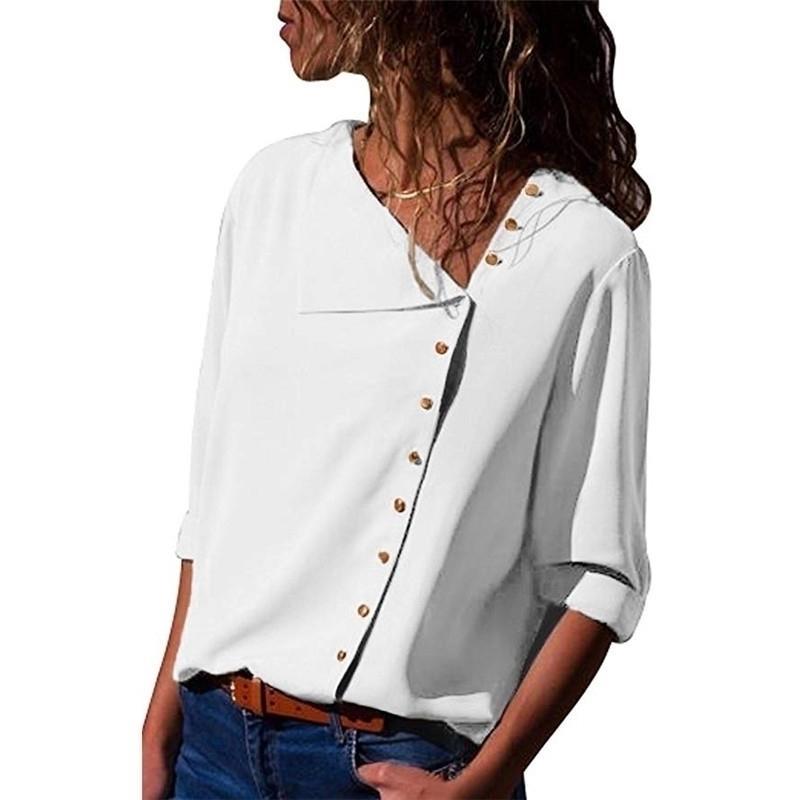 Bluz Gömlek Kadın Şifon Düzensiz Turn-down Yaka Tops Katı Ofis Çalışma Bluz Kadınlar Artı Boyutu Bayan Gömlek Bluz 210402 Tops