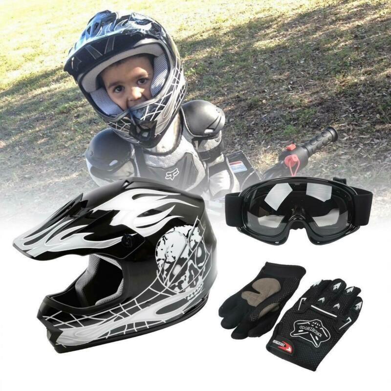 오토바이 청소년 어린이 헬멧 ATV Motocross Dirt 자전거 검정색 / 고글 + 장갑 S M L XL 헬멧
