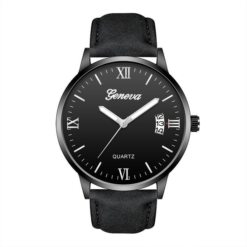Armbanduhren Klassische Geneva Herrenuhr römische Buchstaben Kalenderfunktion Luxus Armbanduhren für europäische männliche Quarzuhr C3817