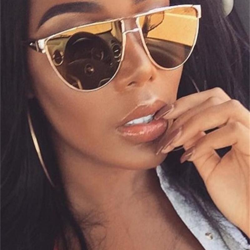 Luxus Gold Cat Eye Sunglasses Frauen Marke Designer Celebrity Metall Unisex Mens Übergroße Sonnenbrille Spiegellinse UV400 Cool 210529