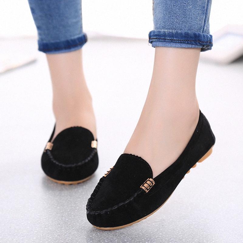 2020 Nueva versión coreana de los zapatos de frijol salvaje para mujer zapatos planos para mujer tacón plano casual cómodo trabajo de conducción más tamaño zapatos de cubierta para hombre Barco de un 16f6 #
