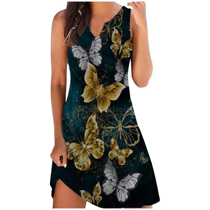 Elegant Female Vestido Women V-Neck Short Sleeve Mini Dress Vintage Floral Printing Slim Ladies Plus Size Casual Dresses Summer