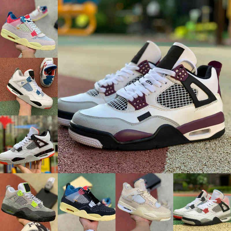 Satmak 2021 Yüksek 4 4 S Basketbol Ayakkabıları Erkek Kadın Mantar Yeni Krem Yelken Beyaz Çimento Garip Mahkemesi Mor Birliği La Guava Buz Rasta Bordeaux Spor Ayakkabı