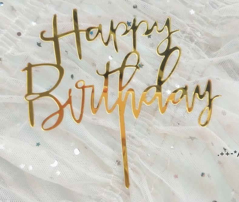 300 stücke Nette Happy Birthday Rose Gold Cake Toppers Gold Glitter Acryl Cupcake Flagge Kuchen Dekorationen Party Geschenke FWA4632
