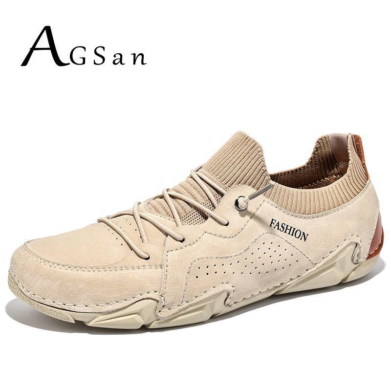 정품 가죽 남성 캐주얼 신발 AG 레이스 최대 스 니 커 즈 큰 크기 48 47 운전 신발 솔리드 컬러 망 트레이너 패션 신발
