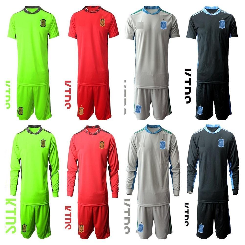 2021 키트 짧은 긴 소매 스페인 세트 국립 축구 팀 20 21 골키퍼 축구 유니폼 Casillas de Gea 청소년 홈 멀리 아동 유니폼