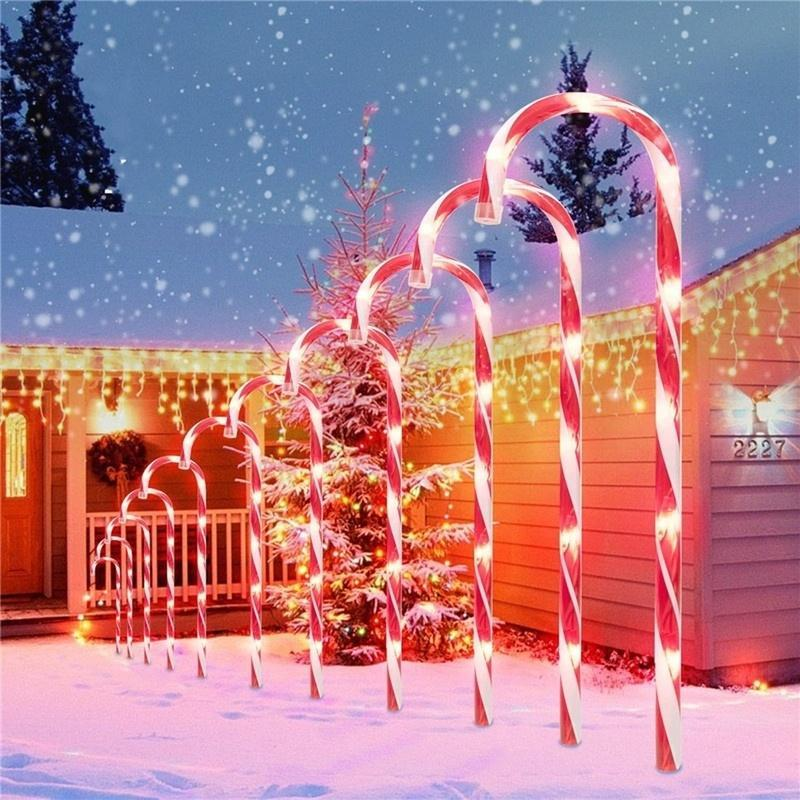 Строки EU Plug / Us Plug / Solar Power Рождественские Candy Cane Lights Solar Открытый Lawn Lame LED Садовый Путь