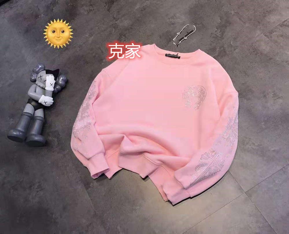 Hohe Qualität 1: 1 Hoodie Chaopai Krojia Herbst Winter Plüsch Heißer Bohrer Rosa Schwarzer Rundhals-Pullover für Männer und Frauen