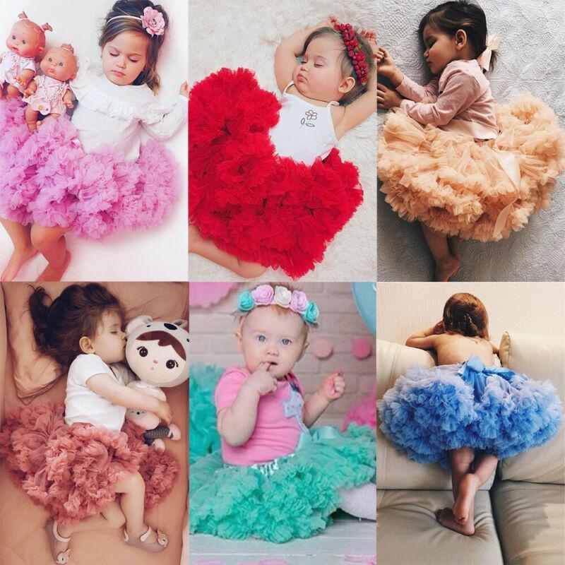 Mode Kids Baby Mädchen Solid Mesh Tutu Rock Petticoat Prinzessin Party Flauschige Fantastische Röcke Kleidung