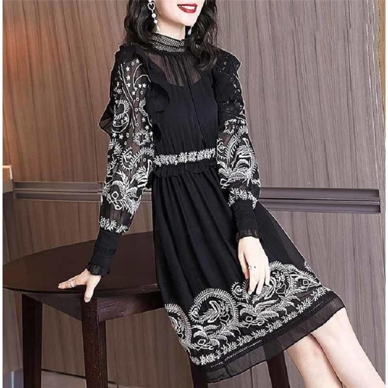 Ladies Casual Dresses Big-name summer womens chiffon embroidery ruffles retro elegant dress long-sleeved fashion party pleated tutu skirt XL